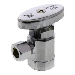 "1/2"" FIP x 3/8"" OD Comp. Multi Turn Angle Stop Valve, Lead Free (Chrome) Product Image"