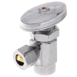 "1/2"" Sweat x 3/8"" OD Comp. Multi Turn Angle Stop Valve, Lead Free (Chrome) Product Image"