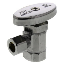 "3/8"" FIP x 3/8"" OD Comp. Multi Turn Angle Stop Valve, Lead Free (Chrome) Product Image"