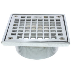 "5"" Square Floor Drain Grate and Screws (Chrome Plated) Product Image"