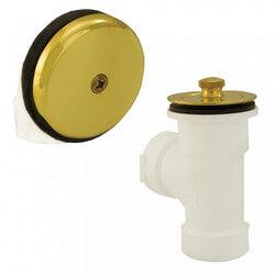 Bath Waste T-Waste Half Kit - PB Lift & Turn Drain w/ 1 Hole Face Plate (PVC) Product Image