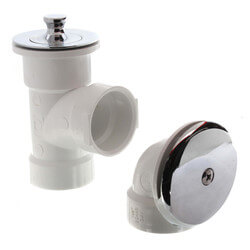 Bath Waste T-Waste Half Kit, CP Brass Lift & Turn Drain, 1 Hole FP (PVC) Product Image