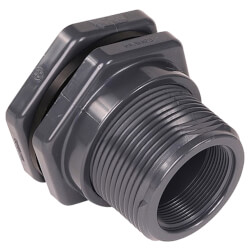 "1/2"" PVC Bulkhead Fitting w/ EPDM Gasket (Socket x Thread) Product Image"