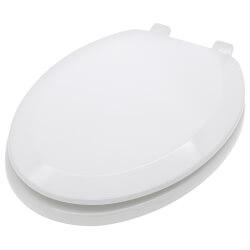 Deluxe Molded Wood Elongated Toilet Seat w/ Heavy Duty Plastic Hinge - White Product Image