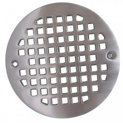 "4-1/4"" Heavy Duty<br>Round Cast Brass Strainer (Brushed Nickel) Product Image"