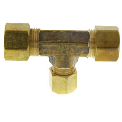 "(64-664) 3/8"" x 3/8"" x 1/4"" OD Brass Compression Tee (Lead Free) Product Image"