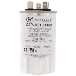 20/10 MFD Round Dual Motor Run Capacitor (370/440V) Product Image