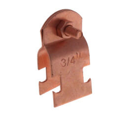 "3/4"" Copper Plated Multi-Strut Pipe Clamp Product Image"