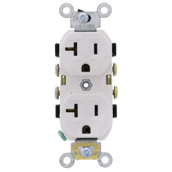 Duplex Receptacle w/ Self Grounding Clip, 20A, NEMA 5-20R - White (125V) Product Image