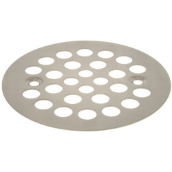 "4-1/4"" Strainer w/ Screws for Fiberglass Shower Stalls (Brushed Nickel) Product Image"