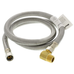 "48"" Stainless Steel Braided Dishwasher Connector, 3/8"" Comp. x 3/8"" Comp. w/ MIP Elbow Product Image"