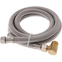 "60"" Braided Stainless Steel Dishwasher Connector w/ MIP Elbow (3/8"" x 3/8"" Compression) Product Image"