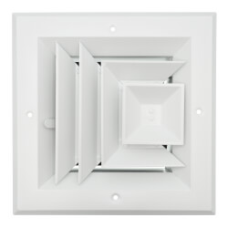 "6"" x 6"" (Wall Opening Size) 3-Way Aluminum Square Ceiling Diffuser (White) Product Image"