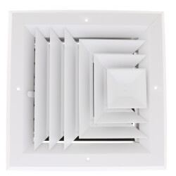 """8"""" x 8"""" (Wall Opening Size) 3-Way Aluminum Square Ceiling Diffuser (White) Product Image"""