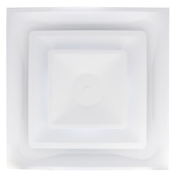 """T-Bar 2-Cone Fixed Pattern 4-Way Diffuser w/ 8"""" Collar (White) Product Image"""