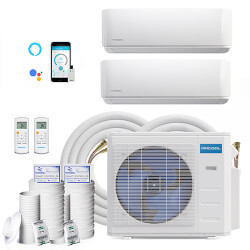 DIY 21,000 BTU 22 SEER Ductless Two Zone Heat Pump Package, 230V w/ 16ft Install Kit (12+9) Product Image
