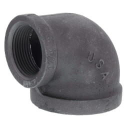 "2"" x 1-1/4"" Black 90° Elbow Product Image"