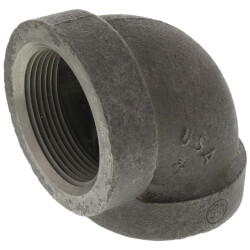 "2-1/2"" Black Cast Iron Steam 90° Elbow Product Image"