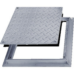 "8"" x 8"" (Frame Opening) FD-8060 Non Hinged: Flush Diamond Plate Floor Door Product Image"