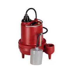 1/3 HP C.I. Auto Submersible Effluent Pump w/ Wide-Angle Piggyback Float Switch, 208-230v - 25 ft Cord Product Image
