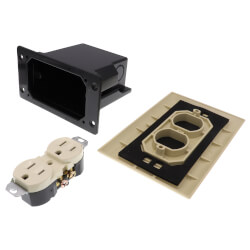 Non-Metallic Floor Box for Installed Floors w/ Threaded Plugs (Almond) Product Image