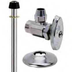"1/2"" Sweat x 3/8"" Flare Faucet Supply Kit - Angle Stop, 11"" (Chrome) Product Image"