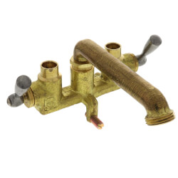 Two Handle Clamp On Laundry Faucet w/ Direct Sweat Connections, Threaded Hose Spout, Rough Brass (49-531) Product Image