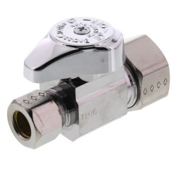 "5/8"" OD Comp x 3/8"" OD Comp. Straight Stop, 1/4 Turn, Lead Free (Chrome) Product Image"