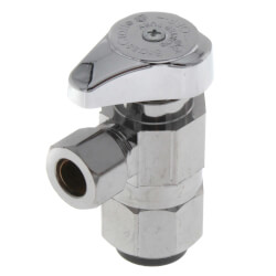 "1/2"" Nom. PushConnect x 3/8"" OD Compr. 1/4 Turn Angle Stop, LF (Chrome) Product Image"