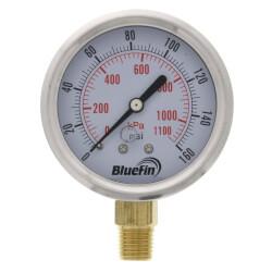 "2-1/2"" SS Liquid Filled Gauge, 1/4"" NPT w/ Brass Internals (0-160 PSI) Product Image"