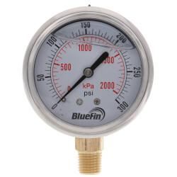 "2-1/2"" SS Liquid Filled Gauge, 1/4"" NPT w/ Brass Internals (0-300 PSI) Product Image"