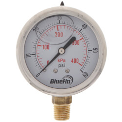 "2-1/2"" SS Liquid Filled Gauge, 1/4"" NPT w/ Brass Internals (0-60 PSI) Product Image"