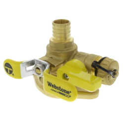 "1"" PEX Crimp Isolator Ball Valve w/ Multi-Function Drain & Rotating Flange, LF Product Image"