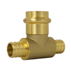 "1/2"" PEX Crimp × PEX Crimp × Press Brass Transition Tee (LF) Product Image"