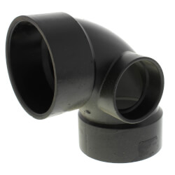 """3"""" x 3"""" x 2"""" Hub ABS DWV 90° Elbow with Side Inlet Product Image"""