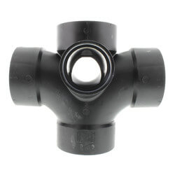 "3"" x 3"" x 3"" x 3"" x 2"" x 2"" H ABS Dbl Sanitary Tee with Two 90° Inlets (583599) Product Image"