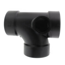 "4"" x 4"" x 4"" x 2"" Hub<br>ABS Sanitary Tee<br>with 90° Left Inlet (5871) Product Image"