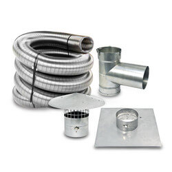 "30' x 5"" Stainless Steel Single Wall Chimney Lining Kit Product Image"
