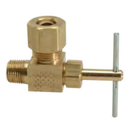 """1/4"""" OD Compression x 1/8"""" MIP Angle Needle Valve (Rough Brass) Product Image"""