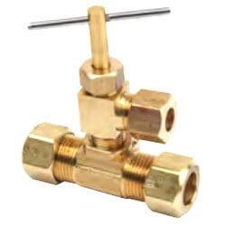 "3/8"" OD Comp. x 3/8"" OD Comp. x 1/4"" OD Comp. Humidifier Valve (Brass) Product Image"