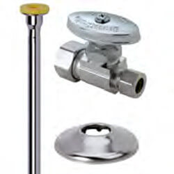 "1/2"" x 3/8"" Compression Toilet Supply Kit - Supply Stop, 12"" (Chrome) Product Image"