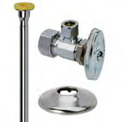 "1/2"" x 3/8"" Compression Toilet Supply Kit - Angle Stop, 12"" (Chrome) Product Image"