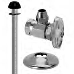 "1/2"" FIP x 3/8"" Flare Toilet Supply Kit - Angle Stop, 11"" (Chrome) Product Image"