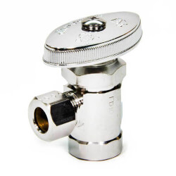 "3/8"" FIP x 3/8"" O.D. Compr. Angle Stop Valve, Lead Free (Chrome) Product Image"