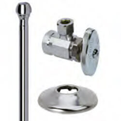 "1/2"" FIP x 3/8"" OD Comp Faucet Supply Kit - Angle Stop, 12"" (Chrome) Product Image"