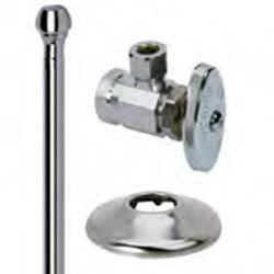 "1/2"" FIP x 3/8"" OD Comp Faucet Supply Kit - Angle Stop, 15"" (Chrome) Product Image"
