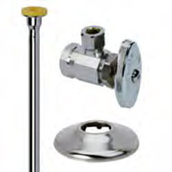 "1/2"" FIP x 3/8"" OD Comp Toilet Supply Kit - Angle Stop, 15"" (Chrome) Product Image"