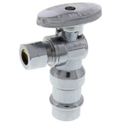 "1/2"" Press x 3/8"" OD Comp. Quarter Turn Angle Stop Valve, Lead Free (Chrome Plated) Product Image"