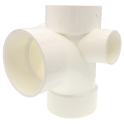 "3"" PVC DWV Sanitary Tee w/ 1-1/2"" R & L Side Inlets Product Image"