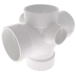 """4"""" PVC DWV Double Sanitary Tee w/ 2"""" R & L Side Inlets Product Image"""